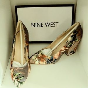 Nine West Floral Block Heel Pumps
